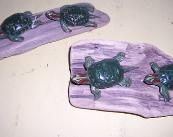 Folk Art painted turtle pair