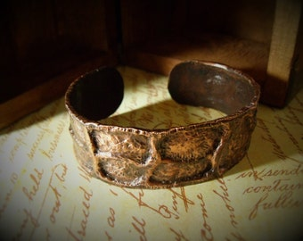 Forged Copper Cuff - Moon Crater Bangle Bracelet