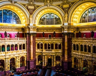 The Main Reading Room, in the Library of Congress, Washington, DC - Urban Architecture Photography Fine Art Print or Wrapped Canvas