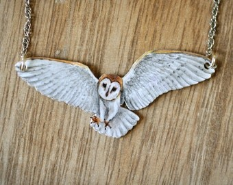 Flying Barn Owl Bird Necklace - Illustrated Wooden Jewellery