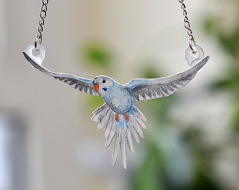 Flying Blue Budgie Necklace - Hand Drawn Shrink Plastic Jewellery