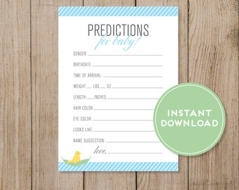 Printable Baby Prediction Card. Baby Shower game. Gender Prediction game. Blue Baby shower. Instant Download. DIY