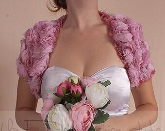 Blush  pink/off white / bridal/ 3D rouse/ ruffles shrug /jacket/  wedding bolero