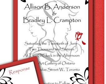 Beauty And The Beast Wedding Invitations, Romantic Disney Weddings, Belle  And Beast   DEPOSIT