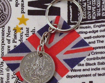 1950 Old Scottish Shilling Coin Keyring Key Chain Fob King George VI