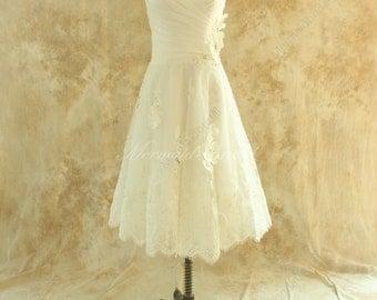Ivory tea lenghth lace wedding dress,destination, outdoor wedding dress,Elopement Dress