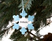 SNOWFLAKE Personalized Ornament, White and Blue. Hand Personalized Wooden Ornament, Christmas Ornament. Gift Topper. Holiday Ornament.