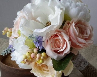 Wedding Bouquet, Pastel Bouquet, Spring Wedding Bouquet, Magnolia Bouquet, Spring Flower Bouquet,Rose and Peony Bouquet,Cabbage Rose Bouquet