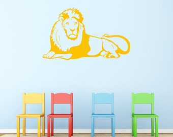 Jungle Lion Wall Sticker, Lion Wall Decal, Jungle Wall Stickers, Animal Wall Decals, Safari Wall Art, Wild Animal Wall Transfers - AN021