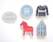 Swedish Magnets - Set of 4 - How Swede It Is - Scandinavian Design - Kitchen Home Decor