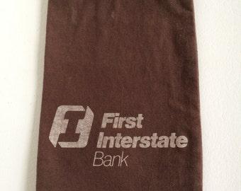 Vintage First Interstate Bank Canvas Deposit Bank Bag