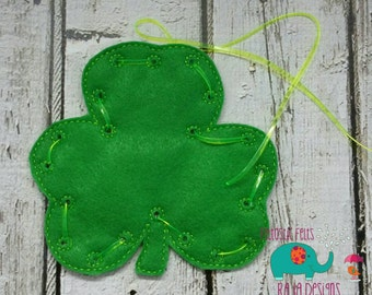 Clover lacing card, lacing toy, party favors, preschool learning, educational toys, games for kids, travel games, busy bags, toddler gift