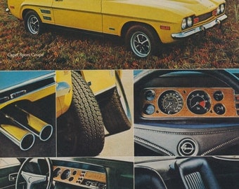 1972 Ford Sport Coupe Capri Car Ad Yellow Automobile Photo Vintage Advertising Print Garage Wall Art Decor