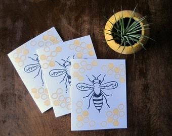 PACK OF 3: Honeybee card (blank)
