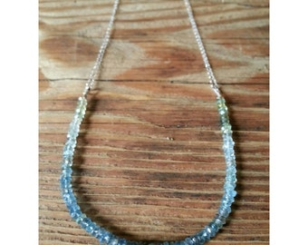 Ombre gradient shaded moss aquamarine necklace on sterling silver chain