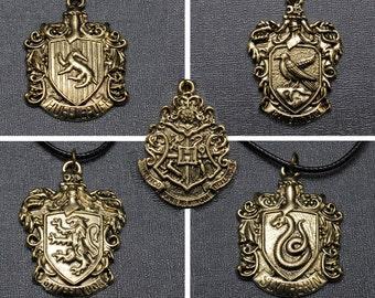 Harry Potter Hogwarts houses necklace – Slytherin – Gryffindor – Ravenclaw – Hufflepuff – Hogwarts Crest jewelry