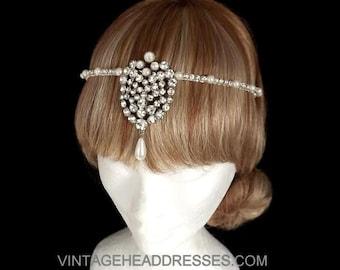 Vintage Forehead Band - Vintage Art Deco Tikka Headpiece - Flapper Headpiece - 1920's Bridal Forehead Band - Wedding - Great Gatsby Circlet