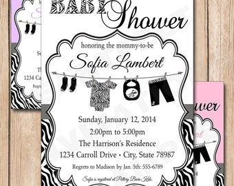 Zebra Black and White Baby Shower Invitation | Clothesline, Neutral Add Any Color - 1.00 each printed or 10.00 DIY file
