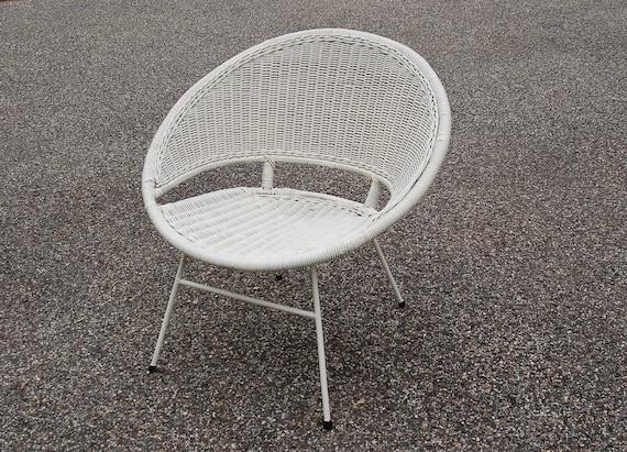 Mid Century Wicker Egg Hoop Chair Salterini Style Circle