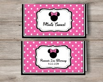 Minnie Mouse Treat Bag Topper with personalized Editable Text in Pink, Pink Minnie Mouse Treat Bag Topper, Changeable Text Minnie Topper PDF
