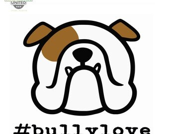 ENGLISH BULLDOG decal - #bullylove - car vinyl stickers - you choose shape - Smooshface United: flat face breed bias love