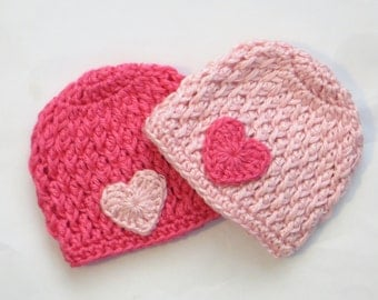 Twin Girl crochet beanie hats with hearts - pink, baby newborn 0 3 6 9 12 months toddler 2t 3t 4t 5t