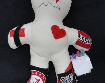 Alabama Bama Crimson Tide Roll Tide Roll Lucky / Voodoo Doll 8' with 6 colorful skull pins 10% goes to St. Jude Children's Hospital