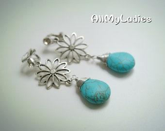 Dangling earrings CLIPS rhinestone turquoise beads, silver metal flower