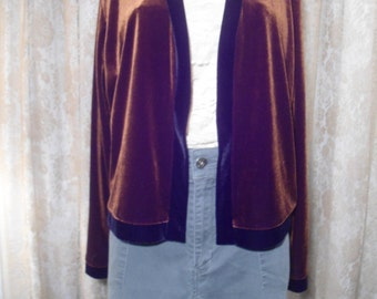 Faux Velvet Cardigan Brown Cardigan Size xl Long Sleeve Long Cardigan Boho Style Clothes Vintage
