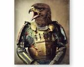 "Hawk Art Print Bird Art Animals In Clothes Anthropomorphic Samurai Art Bird Photography (3 sizes) ""Bushido - The Way Of The Warrior"""