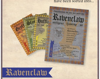 Ravenclaw Sorting House Certificate