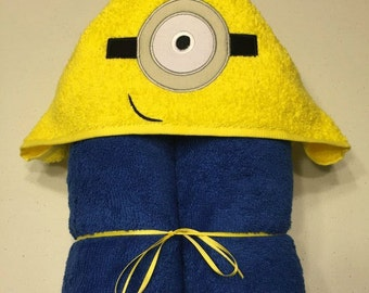 """One Eyed Yellow Monster Applique Hooded Bath Towel 30"""" x 54"""""""