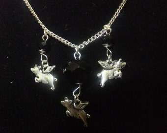 Silver and Black Flying Pig Necklace