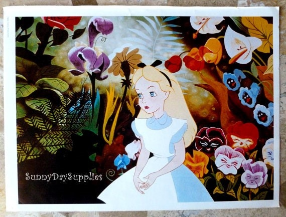 SALE Alice in Wonderland Poster 1970's 15 x 11 inches
