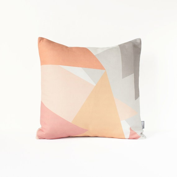 Abstract Decorative Pillow Cover in Gray Sugar Pink Peach