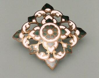 Dark Green & White Enamel Pin Vintage Brooch