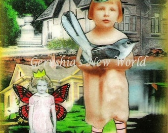 Amy and Celeste - Mixed Media Collage Print