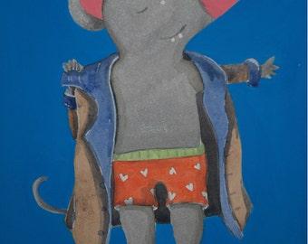 Original watercolor illustration mouse