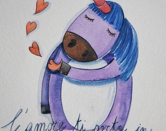 Illustrazione ad acquerello, L'unicorno e l'amore che ti porta in cielo