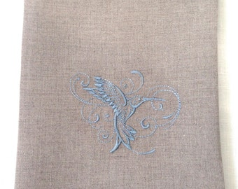 Embroidered Tea Towel or Guest Towel Hummingbird on Natural Linen