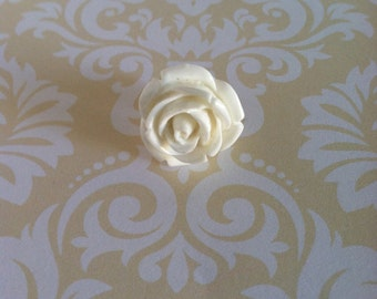 Men's Flower Rose Lapel Pin Boutonniere White Resin Wedding