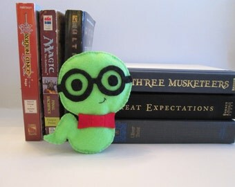 Bookworm Plush, Boy Bookworm, Felt Plushie, Books