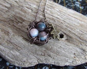 Brass Wire Wrapped Bird Nest Necklace with Blue Beads