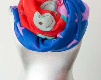 Peace Scarf Smile Scarf Pink Scarf Blue Scarf Star Scarf Summer Scarf Cotton Scarf Gift For Her Women Accessories