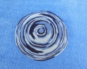 Blue shades Kippah. Handmade Crochet Kippah. Hand knitting Yarmulke. Blue shades Yarn of cotton. For everyday use or holidays and Shabbat