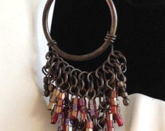 Long Seed Bead Oxidized Silver Hoop Earrings - Beaded Fringe/Tassel Dangle Hoop Earrings - Boho Chic Dark Hoops