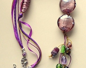 Purple Ribbon and Glass Beads Resort Necklace - Mauve, Purple, Green
