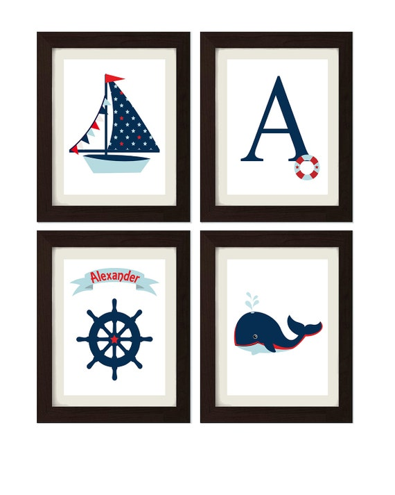 Personalized Nautical Wall Decor : Nautical decor nursery art personalized name anchor sailboat