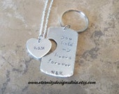 Handstamped/Personalized Couples Keychain and Necklace You Hold My Heart Forever/Girlfriend/boyfriend/wife Husband gift