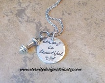 Strong is beautiful Necklace/Personalized Inspirational Necklace/barbell necklace/personal trainer gift/weightlifting gift